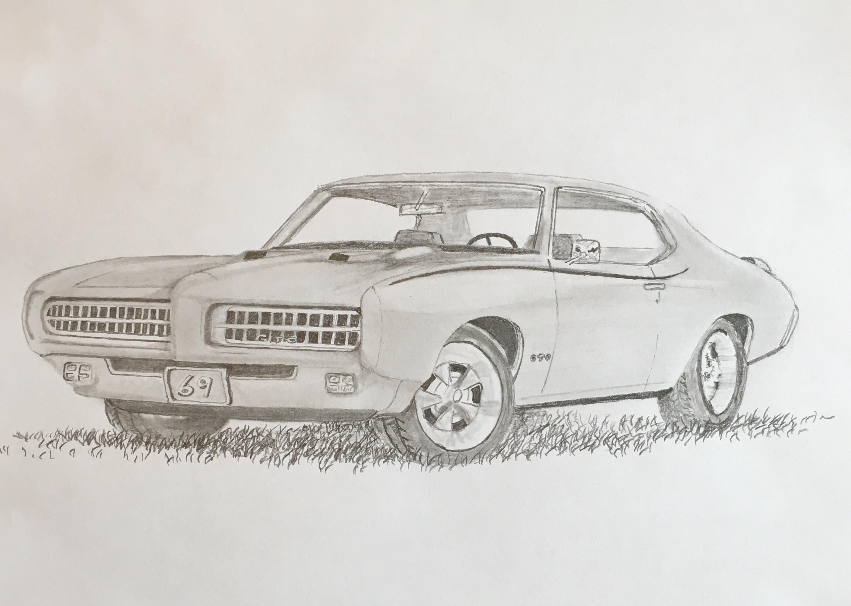 69 gto pencil drawing class art towne